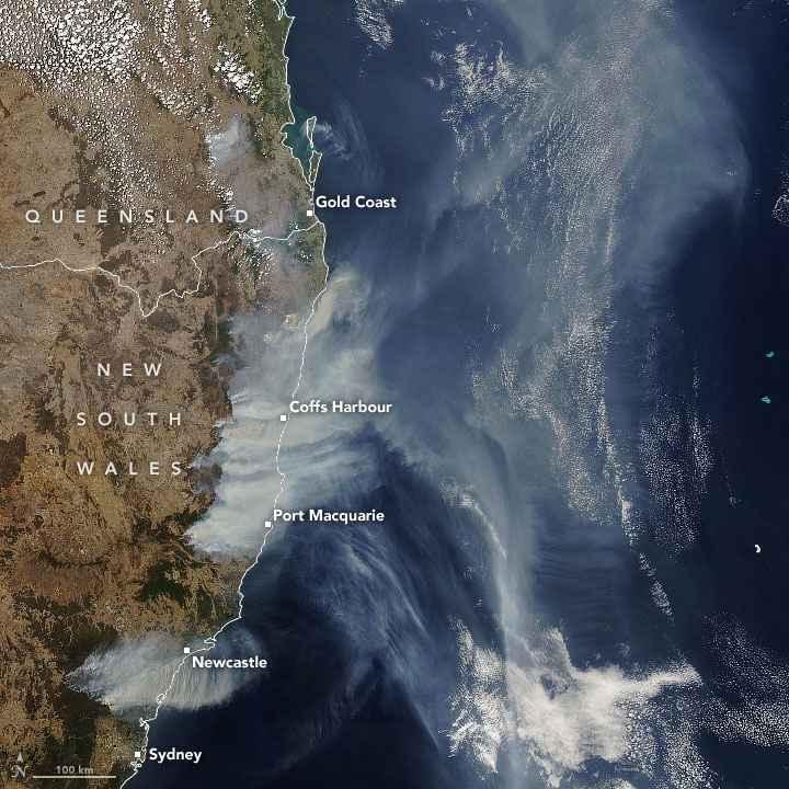 incendios forestales en Australia desde el satélite Aqua