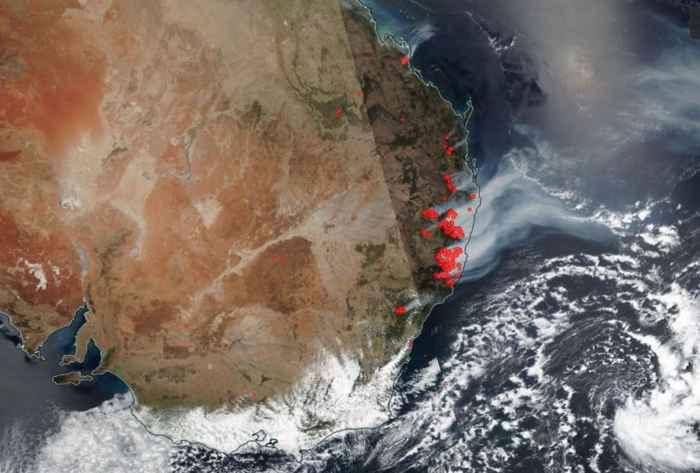 incendios forestales de Australia desde satélite