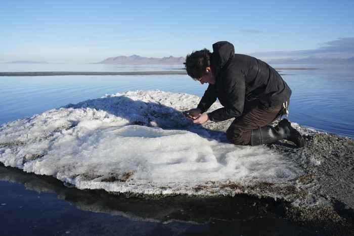 montículo de sal en el Gran Lago Salado