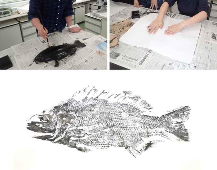 proceso de impresión de un gyotaku
