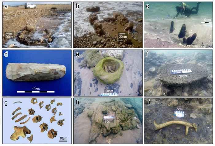restos del rompeolas de la aldea neolítica de Israel
