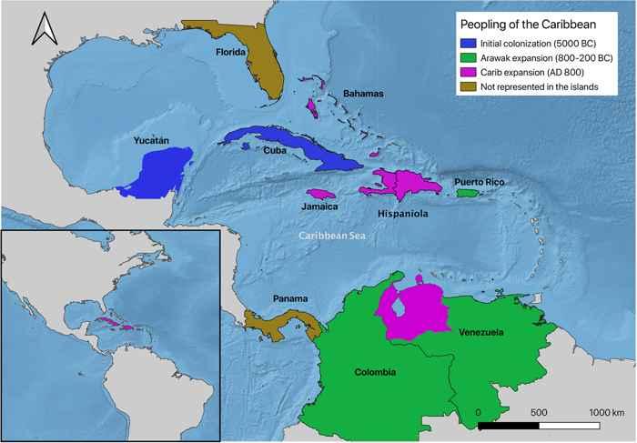 rutas de migración de los caribes