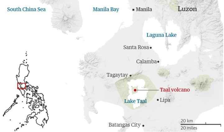 volcán Taal Filipinas, mapa