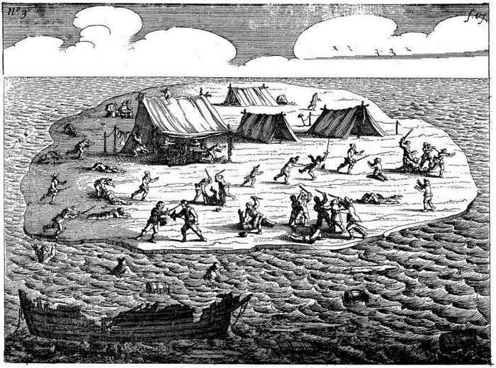 masacre del Batavia en la isla Beacon