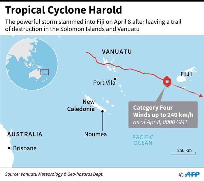 recorrido del ciclón Harold