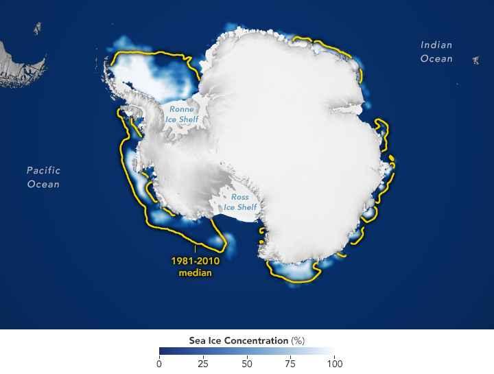 extensión del hielo marino en la Antártida