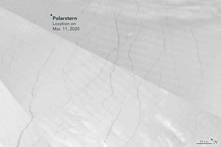 grietas de hielo desde satélite