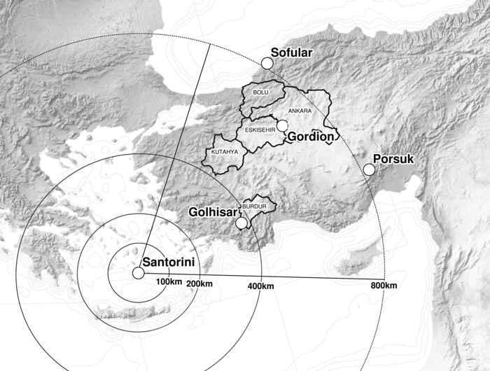 mapa de situación de Santorini