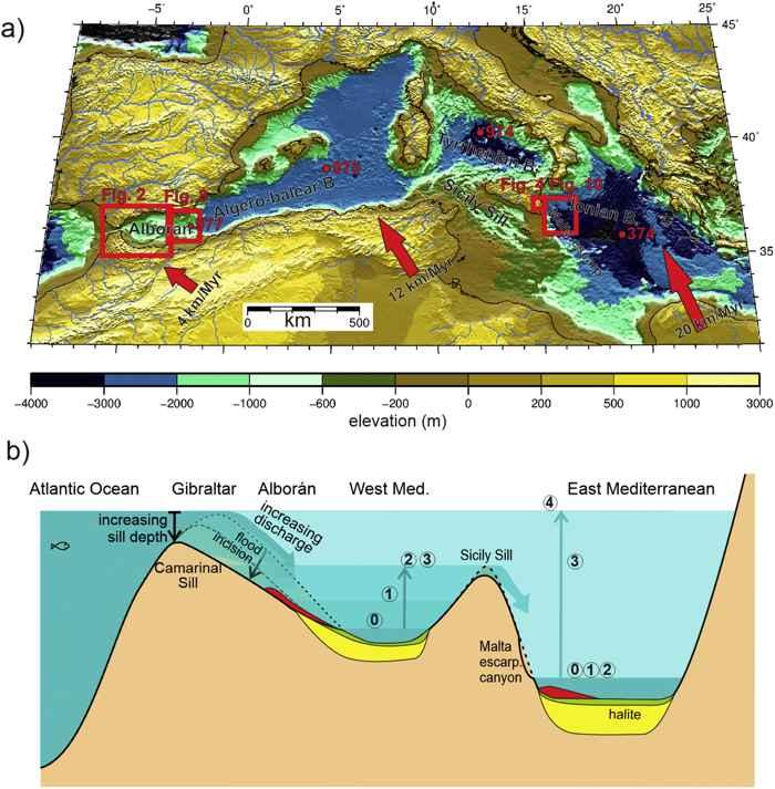 mapa topográfico del antiguo Mediterráneo