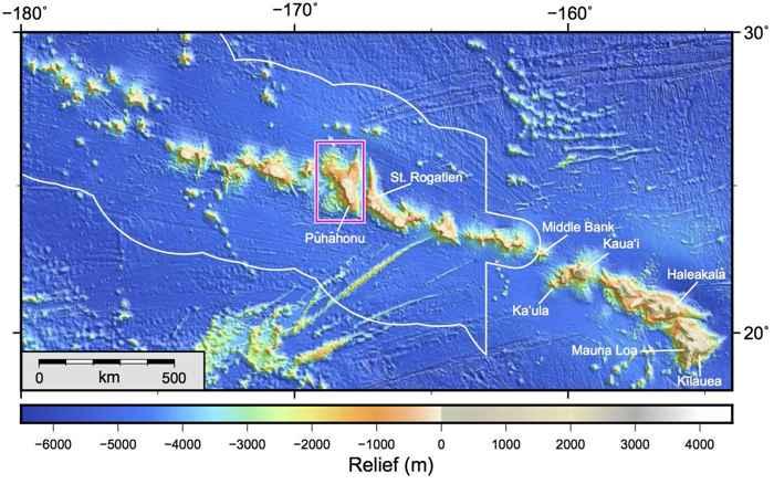 cadena de volcanes de Hawái
