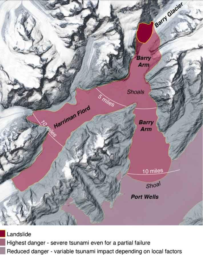 alcance del tsunami en el Glaciar Barry