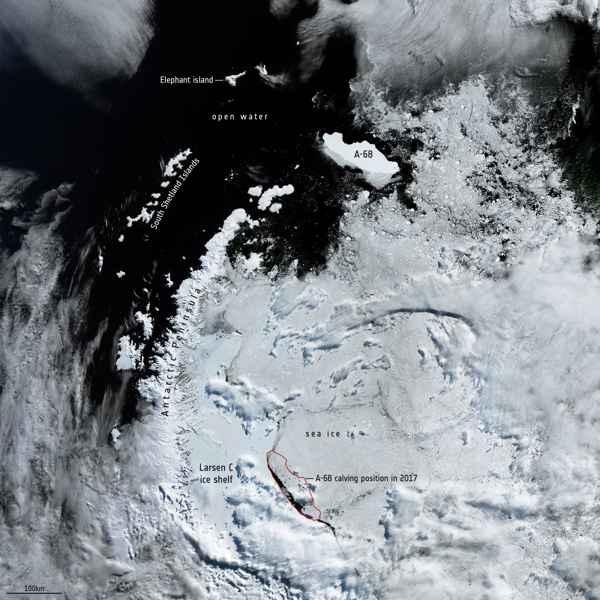 iceberg A-68 en febrero de 2020