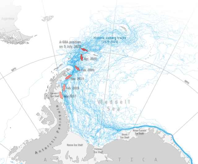 recorrido del iceberg A-68