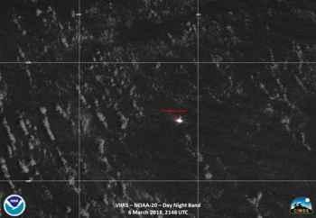incendio del Maersk Honam desde satélite