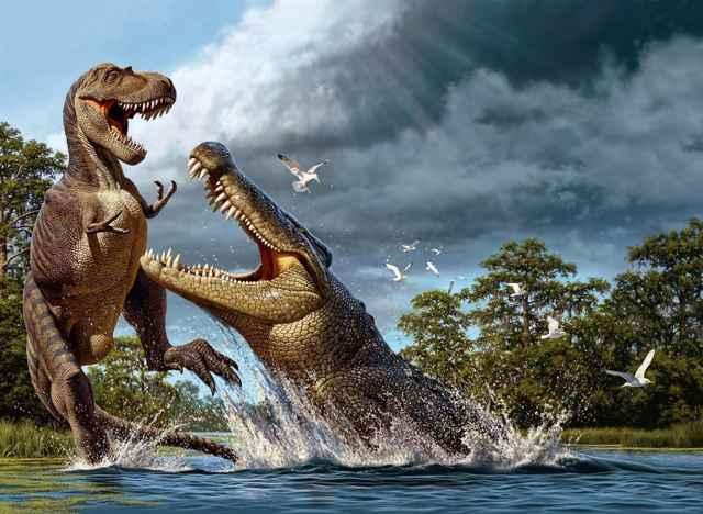 cocodrilo Deinosuchus caza a un dinosaurio