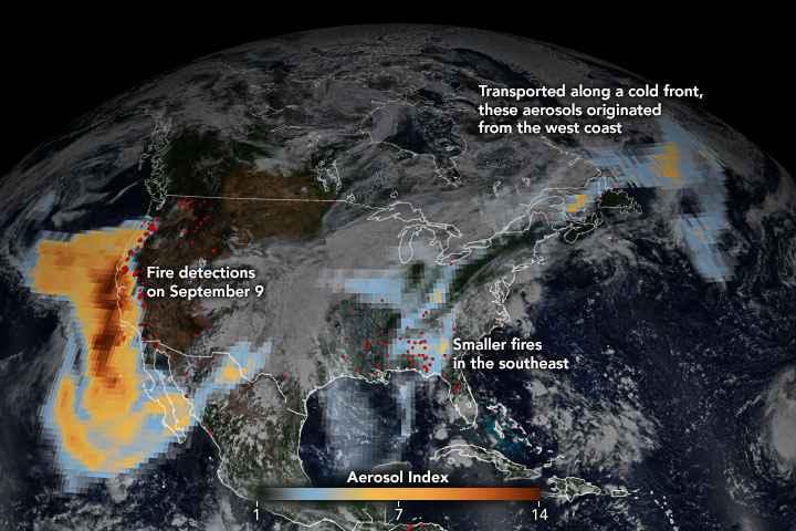 aerosoles de los incendios forestales de EE. UU.