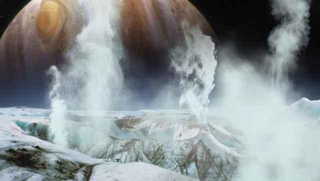 chorros de gas en la luna Europa de Júpiter
