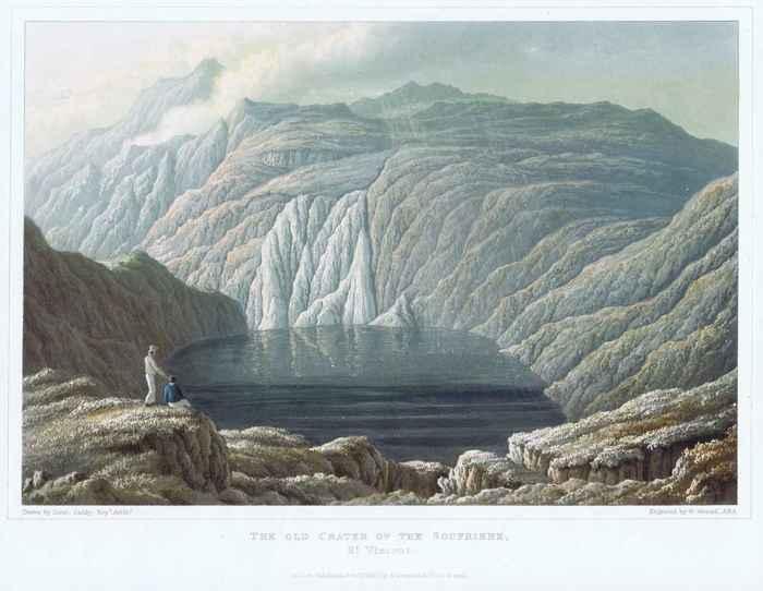 cráter del volcán Soufrière en 1837