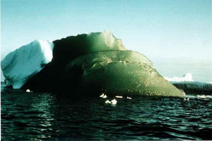 iceberg verde en la Antártida