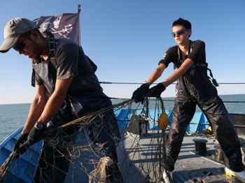retirada de una red de pesca de totoaba