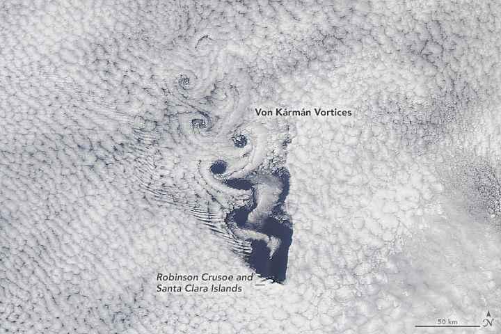 vórtices de von Kármán en San Valentín, detalle