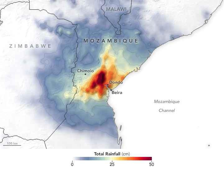 mapa lluvias sobre Mozambique