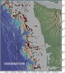 plumas de metano en la costa de Washington, situación