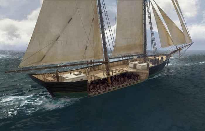 maqueta del barco esclavista Clotilda