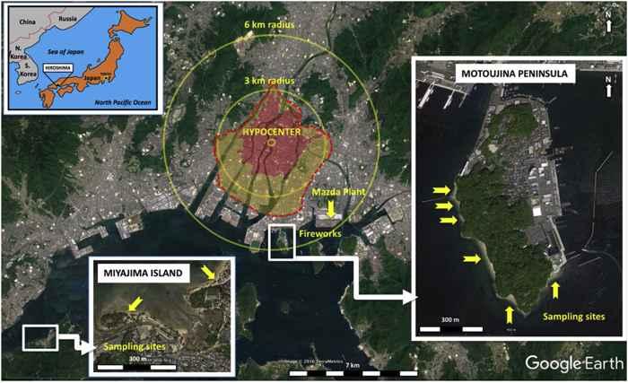 área explosión en Hiroshima