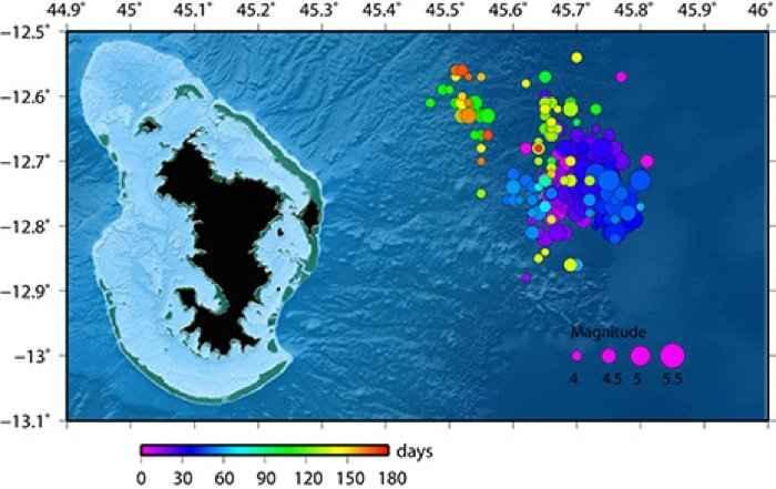 enjambre sísmico en la isla Mayotte