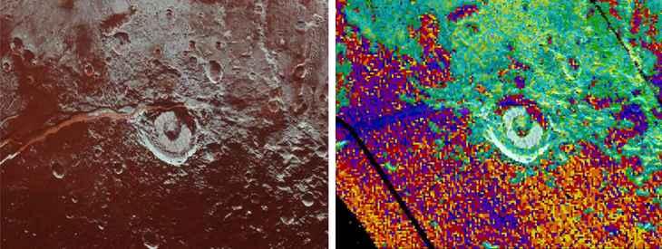 hielo de amoniaco en Virgil Fossae, Plutón