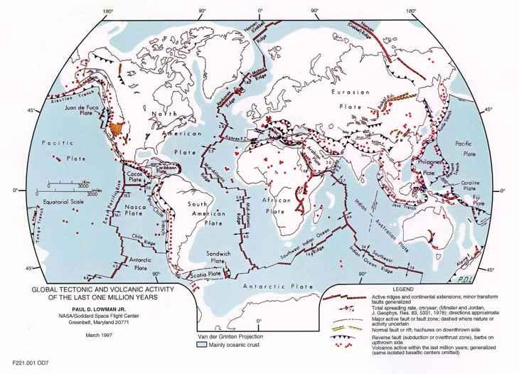 mapa de las placas tectónicas de la Tierra