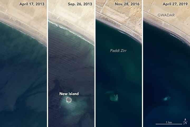 desaparición de la isla Zalzala Koh desde satélite