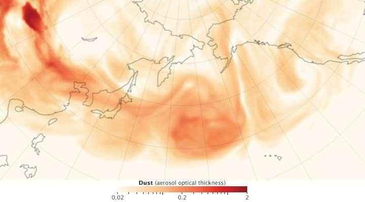 polvo asiático en el Pacífico