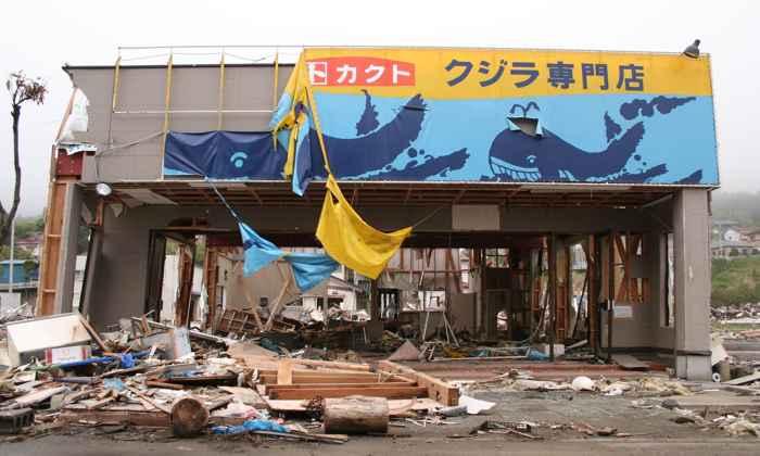 restaurante de carne de ballena tras el tsunami de 2011