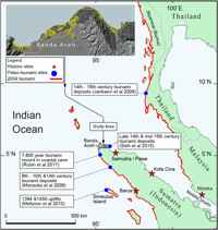 tsunami medieval en Aceh, mapa