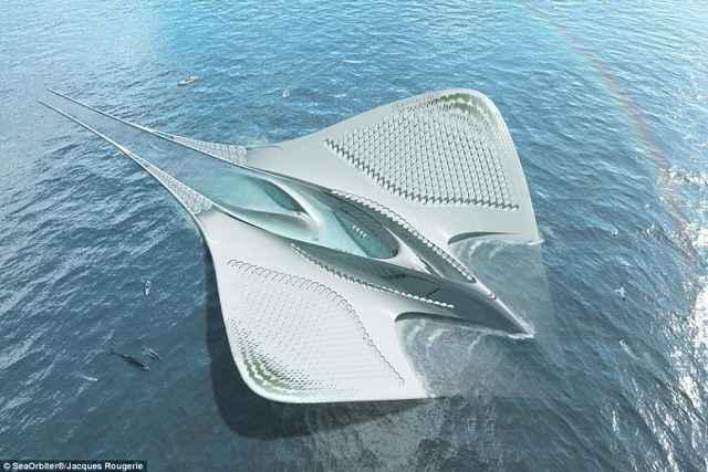 Meriens, ciudad flotante en forma de manta raya