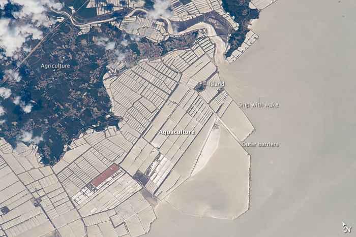 acuicultura en China vista desde satélite