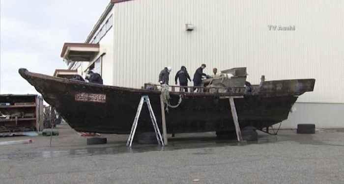 barco fantasma encontrado en las costas de Japón