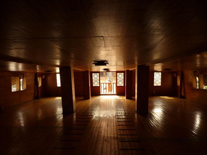 réplica de un barco del tesoro de Zheng He, interior de popa