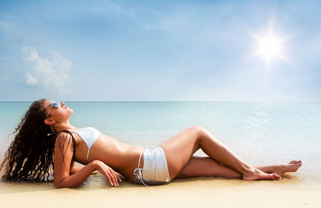 bronceado en la playa