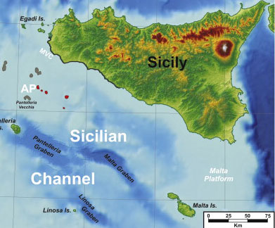 mapa del Canal de Sicilia