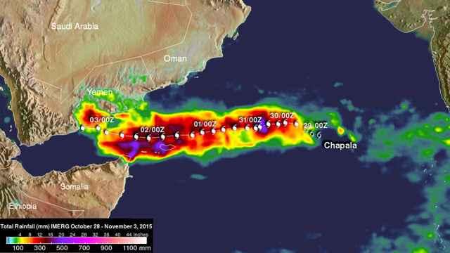 lluvias del ciclón Chapala en el Mar de Arabia y Yemen