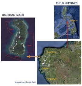 mapa de Danjugan Island, Filipinas