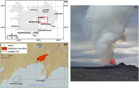 emisiones de dióxido de azufre en la fisura volcánica Holuhraun