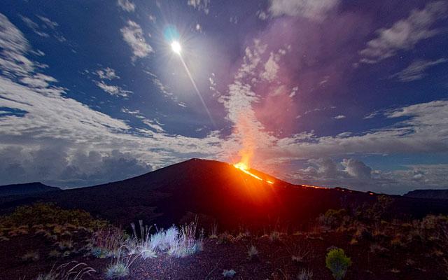 erupción volcán Piton de la Fournaise, agosto 2015