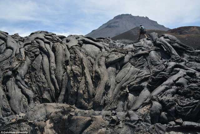 lava en el volcán Fogo, Cabo Verde