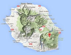 situación volcán Piton de la Fournaise en la Isla de Reunión