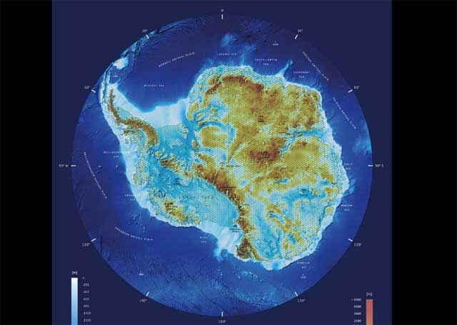 mapa 3D interactivo de la  antartida