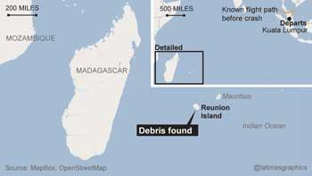 mapa de la desaparición del vuelo MH370